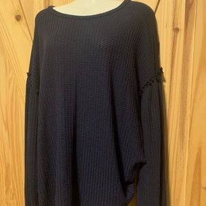 Knox Rose Navy Blue Long Sleeve Textured Blouse